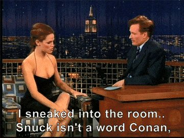 Jennifer Garner tries to correct Conan's English.