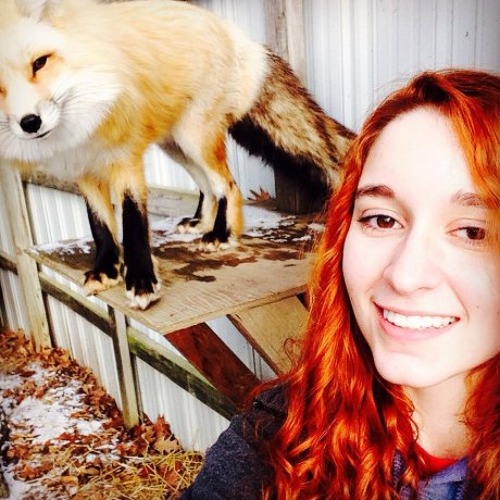 Last photo with our fox, Daisy, before I go off to school