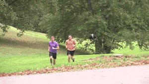 Flying grim reaper prank terrifies a couple of joggers.