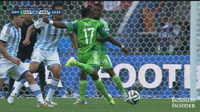World cup: Nigerian player shoots ball into teammate's arm, breaking it.