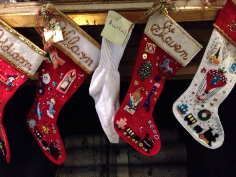 My parents finally put up a stocking for my wife.