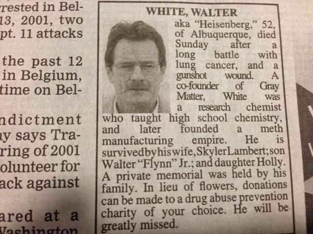 *Spoiler* Walt made the paper